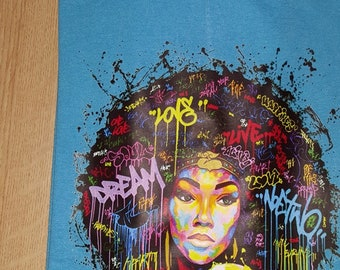 Dream Love Live Afro Graffiti Girl  T -Shirt Free Shipping ,Nubian Sensations