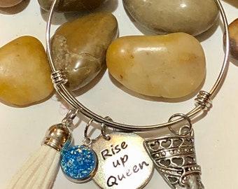 Adjustable African  Charm Bracelet _Rise Up Queen  nubiansensations , Stainless Steel Adjustable Bracelet