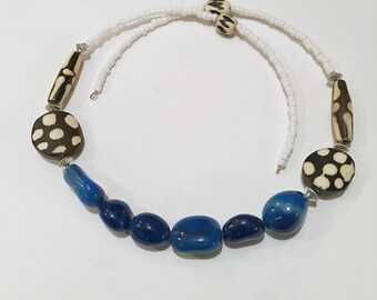 Afrocentric  Necklace with Blue Agate Beads BatikB eads