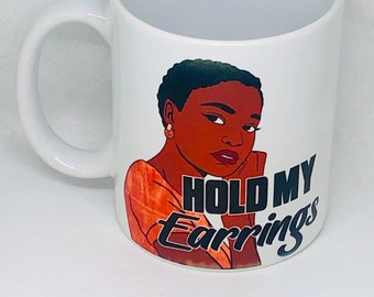 Hold My Earrings Afrocentric  Coffee Mug, Afro American Coffee Mug,Black Woman Boss