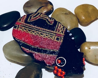 Afrocentric  Woman Brooch,Ankara,Free shipping,Red