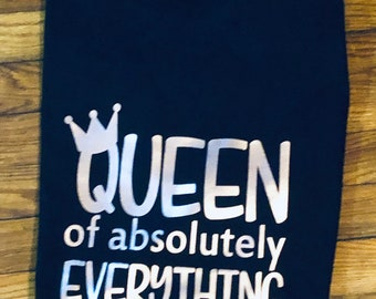 Queen of Everything T shirt   (Adult XS,S,M,L,XL,XXL)   Black shirt  with Rose Gold vinyl Free Shipping,Nubian Sensations