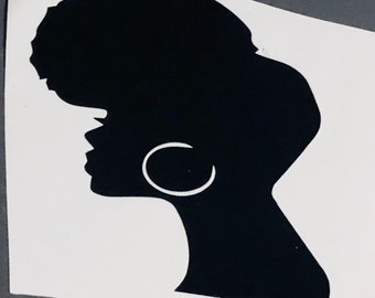 Head wrap ,Queen Afro woman, African American Short Locs, Lady in Hat Decal  Afro Lady Decal Tumbler Decal Cup Decal
