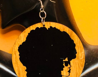 Afrocentric Wood  Earrings, Afro woman,nubiansensations, handmade