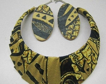 African print ankara fabric jewelry Black Gold Cuff Necklace,and Earring