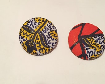 Afrocentric Button Earrings, Nubiansensations,Ankara Fabric
