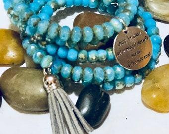 Memory Wire Glass Beads Bracelet