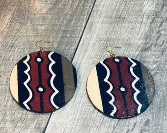 Afrocentric Fabric EarringsFabric Hoop Earrings, Hoop Earrings, Dangle Earrings, Ethnic Earrings,