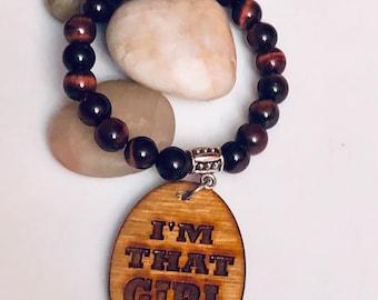 Tiger Eye and Wood Pendant Bracelet, Woman,BlackGirl Magic,free shipping