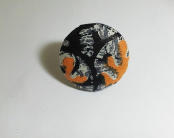 ANKARA Ring AFRICAN FABRIC Button Ring