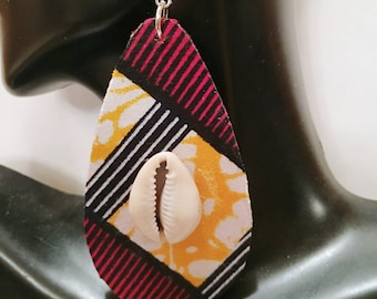 African Print Fabric and Wood  Earrings