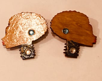 Natural Hair Afro Puff Silhouette  Wood Earrings Africa  Wooden Earrings