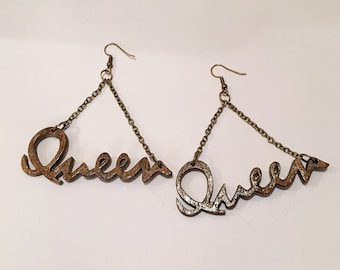 All hail the Queen Afrocentric Wood Earring  Wood Hoop Earrings, Hoop Earrings, Dangle Earrings, Ethnic Earrings,