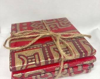 Ankara  Fabric Coaster, drink coasters, 4.25x4.25 housewarming gift, Set 0f 4