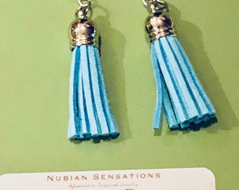 African Inspired Tassel Earrings with faux druzy cabochons Earrings  with stainless steel post Nubian Sensations