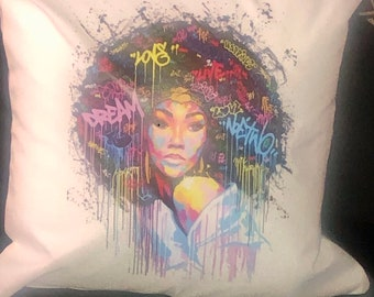 Afro Graffiti Afrocentric Pillow cover,18x18 ,African Pillow cover,Afrocentric Home Decor