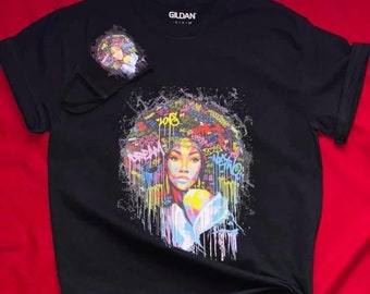 Dream Love Live Afro Graffiti T shirt with matching Face Mask Adult,Free Shipping ,Nubian Sensations