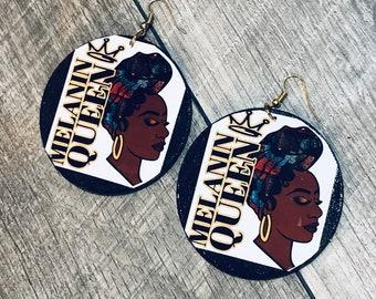 Nubian Queen ,Afrocentric Wood  Earrings, Afro woman,nubiansensations