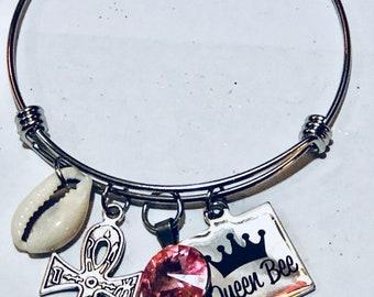 Adjustable African  Charm Bracelet _Queen Bee, nubiansensations, Stainless Steel Adjustable Bracelet