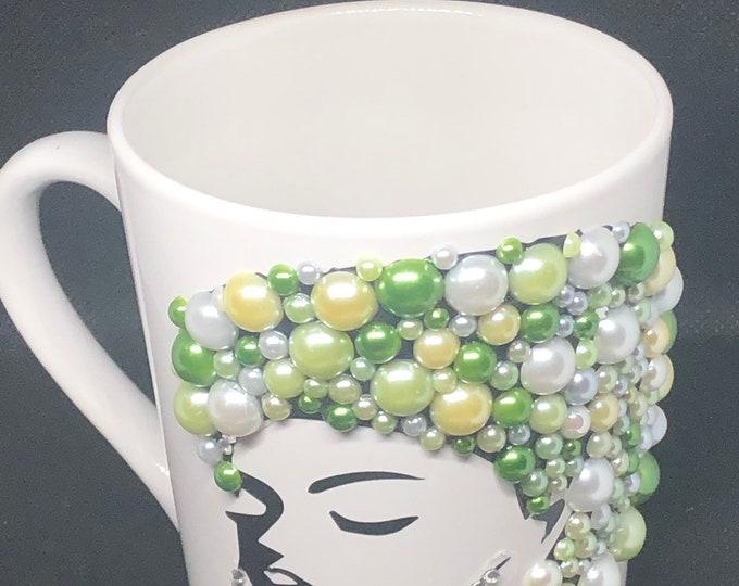 Featured listing image: Afrocentric Bling Coffee Mug, Afro American Coffee Mug,Black Woman Boss