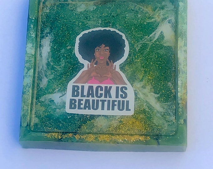 Featured listing image: Resin Tray,Melanin,coaster,Trinket Tray