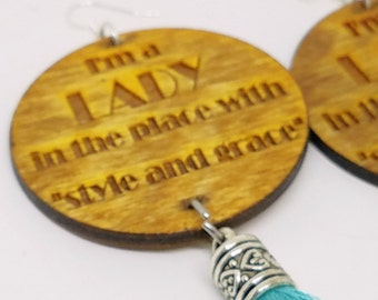 African Inspired Tassel Earrings I AM A LADY , Tassel Earrings , Glass Bead, Nubian Sensations
