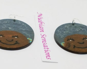 Hand Painted  Afrocentric Earrings Black Girl MAgic Nubian Sensations
