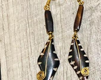 Kenyan Bone & Brass Earrings ,African Earrings,Brass Earrings,Tribal  Dangle Earrings