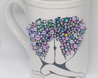 Afrocentric Bling Coffee Mug, Afro American Coffee Mug,Black Woman,Praying Woman