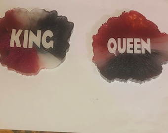 King and Queen Resin Coaster Set.