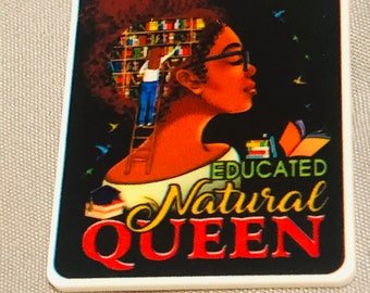 Educated Queen,Afro woman,Afro Nurse,Black Girl magic,Afro Planar Resin Flatback ,Resin Flatback Qty1 (5) pieces