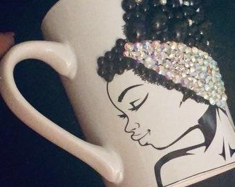 Afrocentric Bling Coffee Mug, Afro American Coffee Mug,Black Woman Boss