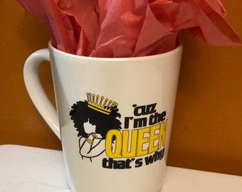 Natural Hair Coffee Mug, Afro American woman  Queen Coffee Mug