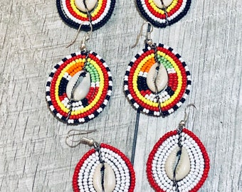 African Tribal Seed Bead Earrings,Cowrie Shell