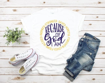 Because of God I am T -Shirt Free Shipping ,Nubian Sensations