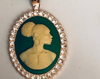 African American Woman  Pendant Cameo, Gift,Gold Rhinestone, Black African Jewelry,Free Shipping