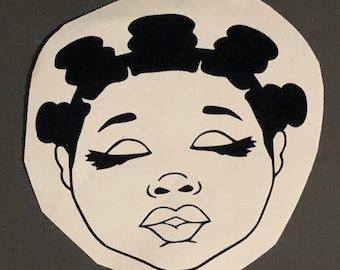 Bantu knots Queen Afro woman, African American Short Locs, Lady in Hat Decal  Afro Lady Decal Tumbler Decal Cup Decal