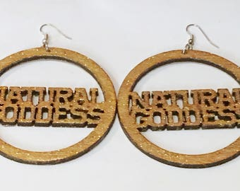 Natural GODDESS   with Glitter Gold Paint African American Woman Earring / Wood Jewelry/NubianSensations