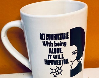 Natural Hair Coffee Mug, Afro American woman  Queen Coffee Mug