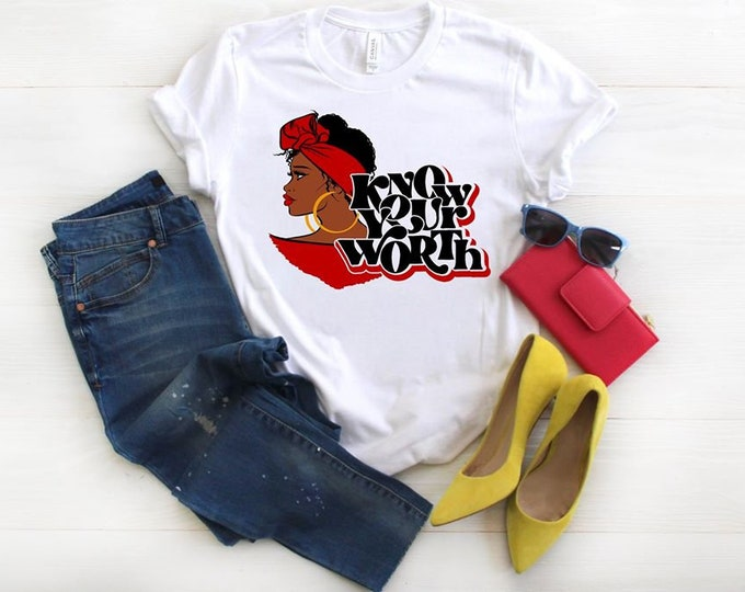 Featured listing image: Know Your Worth Natural Beauty T Shirts, Natural Hair T Shirt, Free Shipping,Nubian Sensations
