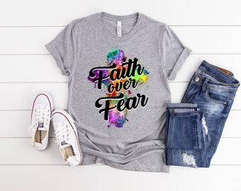 Faith Over Fear Color Splash T -Shirt Free Shipping ,Nubian Sensations