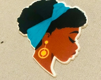 Afro Woman,Planar Resin Flatback ,Resin Flatback