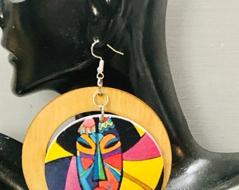 Afrocentric Wood  Earrings, Afro woman,nubiansensations