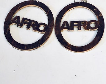 Afrocentric Wood Earring Wood Queen  Hoop Earrings, Hoop Earrings, Dangle Earrings, Ethnic Earrings,