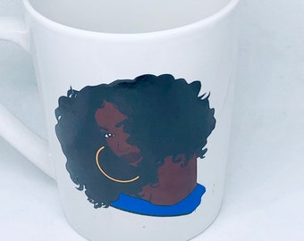 Afrocentric  Coffee Mug, Afro American Coffee Mug,Black Woman Queen