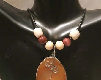 Afrocentric Leather Necklace  Brown Agate Stone African Wood Beads