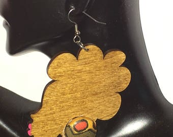 Natural Hair / African American Woman Earring / Wood Jewelry