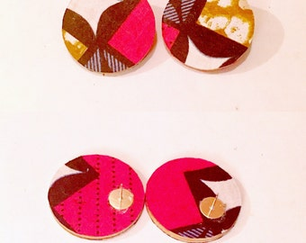African Print Wood Covered Post  Earrings