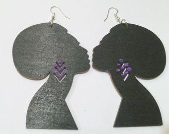 African Woman Wood Earrings, Africa Wood Earrings,Natural Hair Earrings