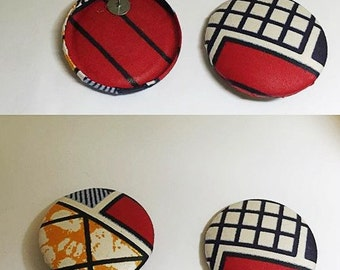 Extra Large Tribal Print Button Earrings